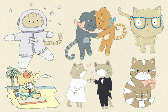 Cats 20 Assorted Illustrations Graphic By Jen Digital Art Image 2