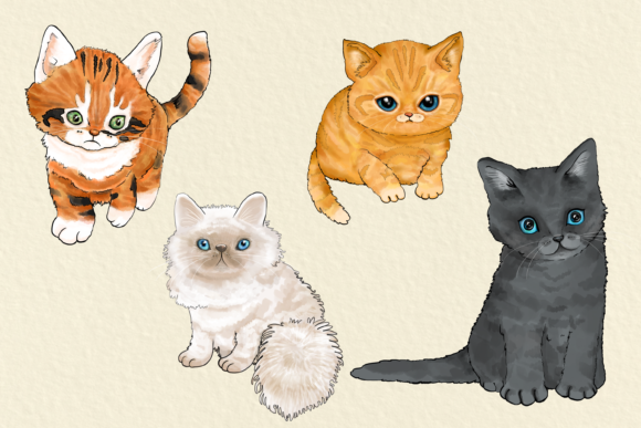 Cats 20 Assorted Illustrations Graphic By Jen Digital Art Image 4
