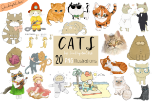 Cats 20 Assorted Illustrations Graphic By Jen Digital Art