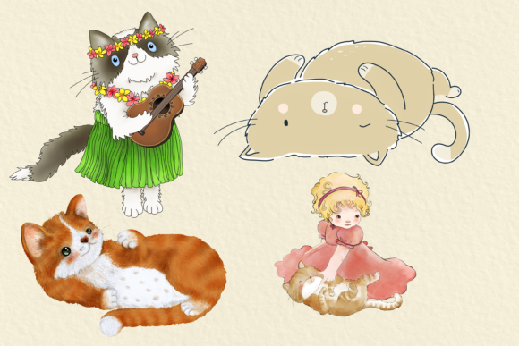 Cats 20 Assorted Illustrations Graphic By Jen Digital Art Image 5