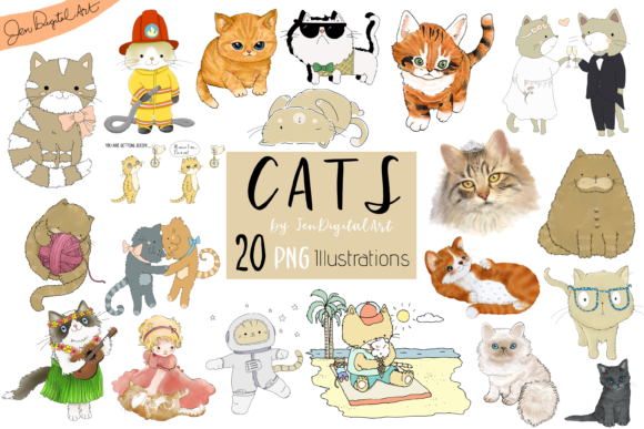 Cats 20 Assorted Illustrations Graphic Illustrations By Jen Digital Art