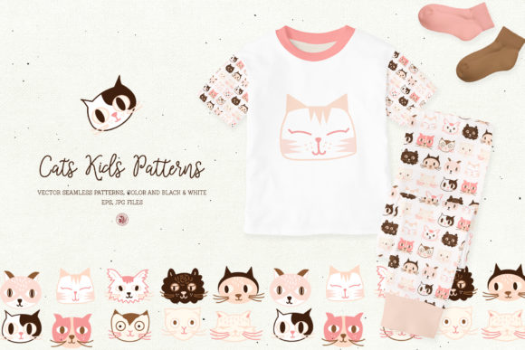 Download Free Cats Kids Patterns Graphic By Webvilla Creative Fabrica for Cricut Explore, Silhouette and other cutting machines.
