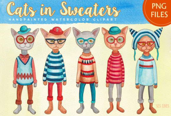 Print on Demand: Cats in Sweaters Watercolor Clipart Set Graphic Illustrations By SLS Lines