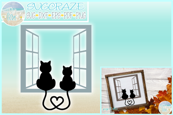 Print on Demand: Cats on Window Sill Tails Heart Graphic Crafts By SVGcraze