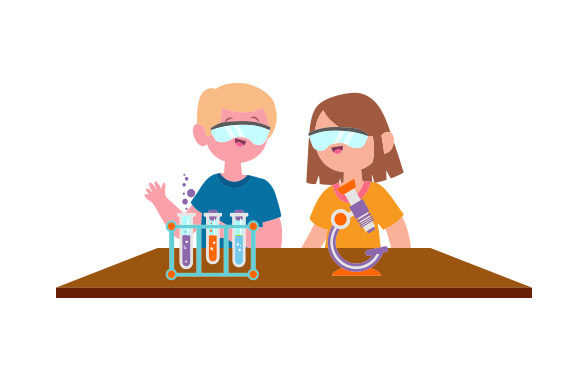 Chemistry Lab with Kids Wearing Safety Goggles School & Teachers Craft Cut File By Creative Fabrica Crafts