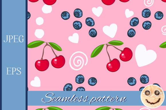 Print on Demand: Cherry, Blueberry Pattern Graphic Patterns By TasiPas