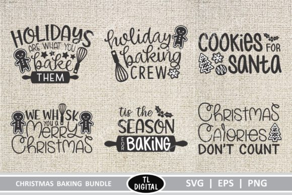 Download Free Christmas Baking Graphics Bundle Graphic By Tl Digital for Cricut Explore, Silhouette and other cutting machines.