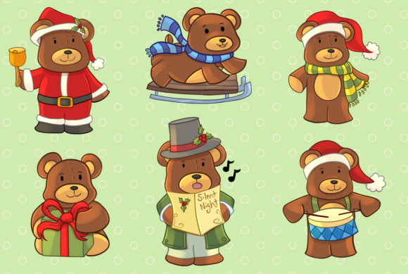 Download Free Christmas Bears Clip Art Collection Graphic By SVG Cut Files