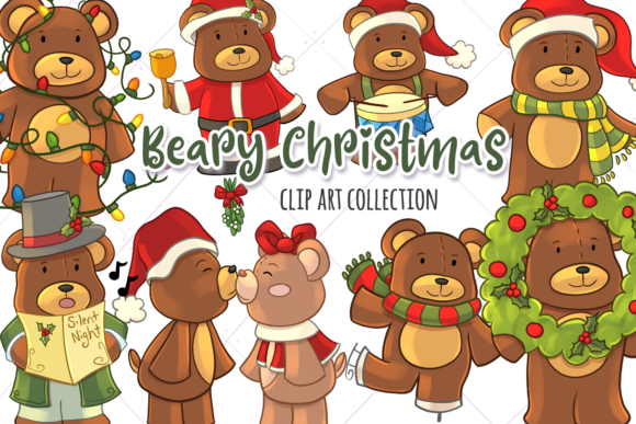 Download Free Christmas Bears Clip Art Collection Graphic By for Cricut Explore, Silhouette and other cutting machines.