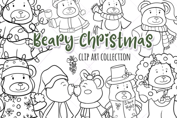 Print on Demand: Christmas Bears Digital Stamps Graphic Illustrations By Keepinitkawaiidesign - Image 1
