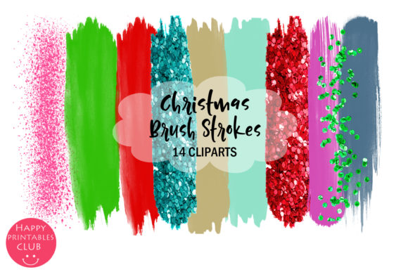 Print on Demand: Christmas Brush Strokes Clipart- Brush Graphic Illustrations By Happy Printables Club
