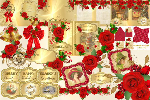 Print on Demand: Christmas Clipart and Backgrounds Bundle Graphic Crafts By The Paper Princess