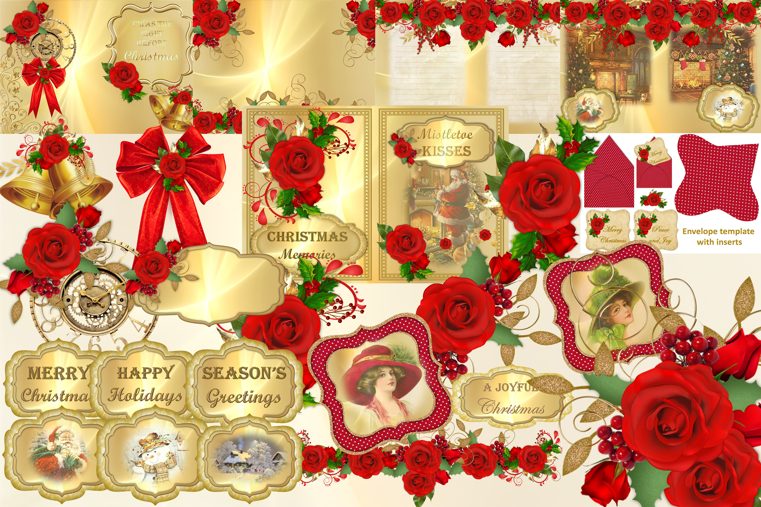 Download Free Christmas Clipart And Backgrounds Bundle Graphic By The Paper SVG Cut Files