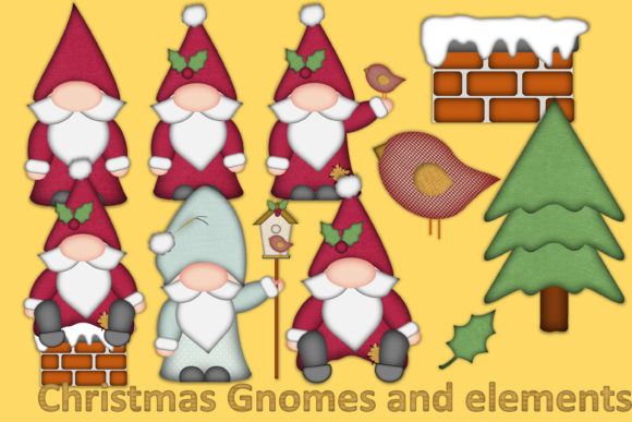 Christmas Gnomes Clipart.Christmas Clipart And Craft Bundle
