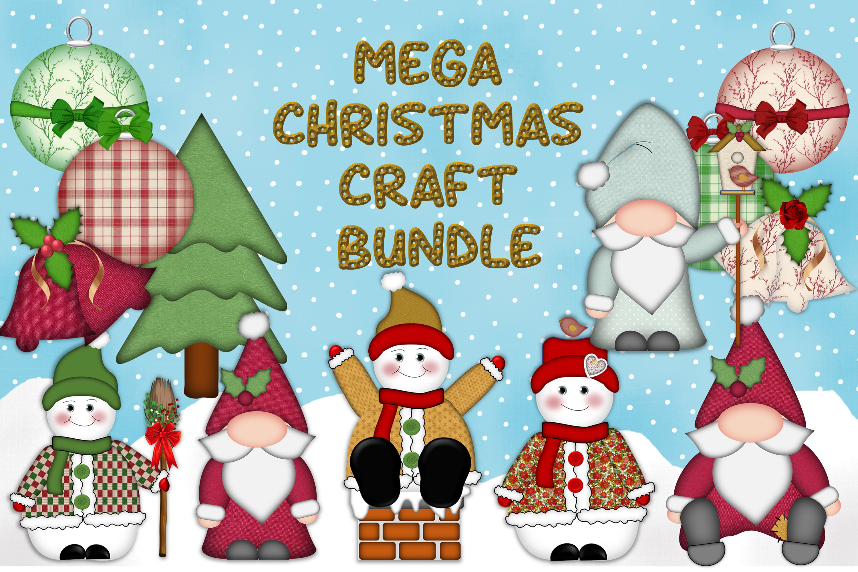 Download Free Christmas Clipart And Craft Bundle Graphic By The Paper Princess for Cricut Explore, Silhouette and other cutting machines.