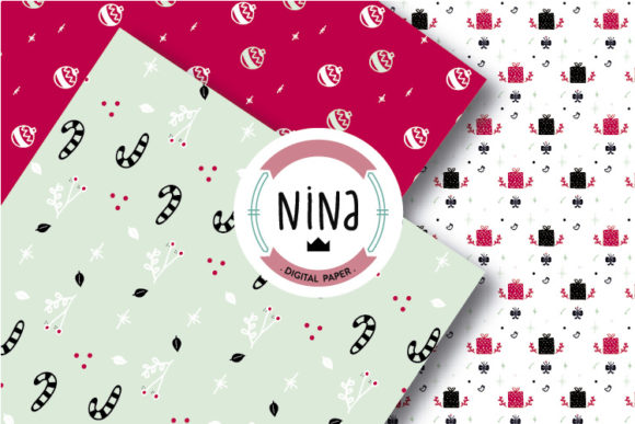 Download Free Christmas Digital Paper Pack Xmas Paper Graphic By Nina Prints for Cricut Explore, Silhouette and other cutting machines.