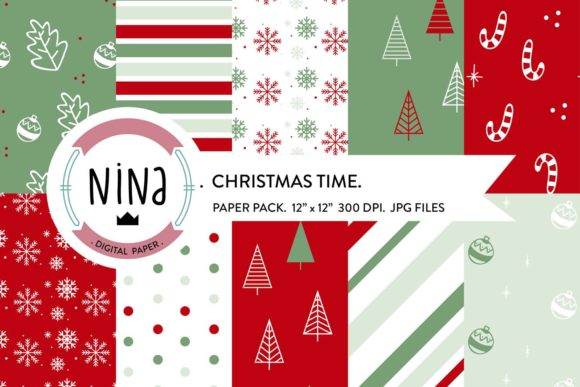 Download Free Christmas Digital Paper Pack Graphic By Nina Prints Creative for Cricut Explore, Silhouette and other cutting machines.