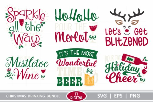Christmas Drinking Graphics Bundle Graphic Crafts By TL Digital - Image 2