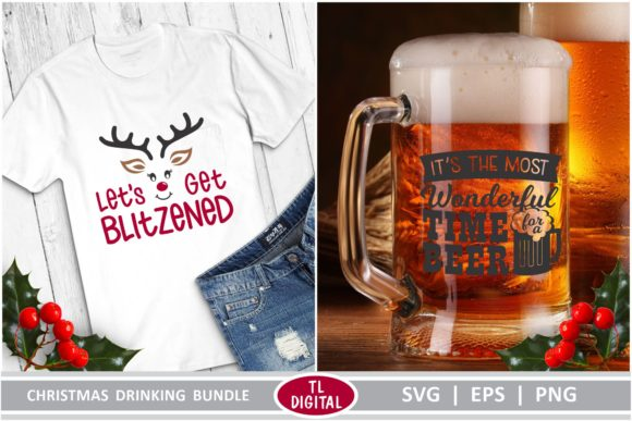 Christmas Drinking Graphics Bundle Graphic Crafts By TL Digital - Image 3