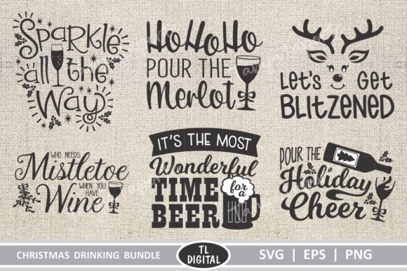 Download Free Christmas Drinking Graphics Bundle Graphic By Tl Digital for Cricut Explore, Silhouette and other cutting machines.