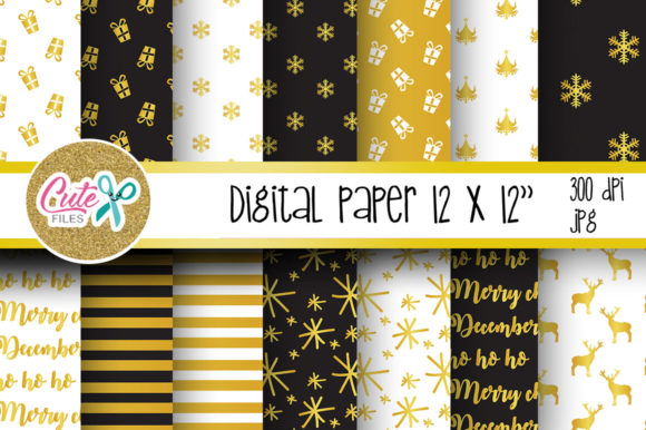 Christmas Gold and Black Digital Paper Graphic By Cute files