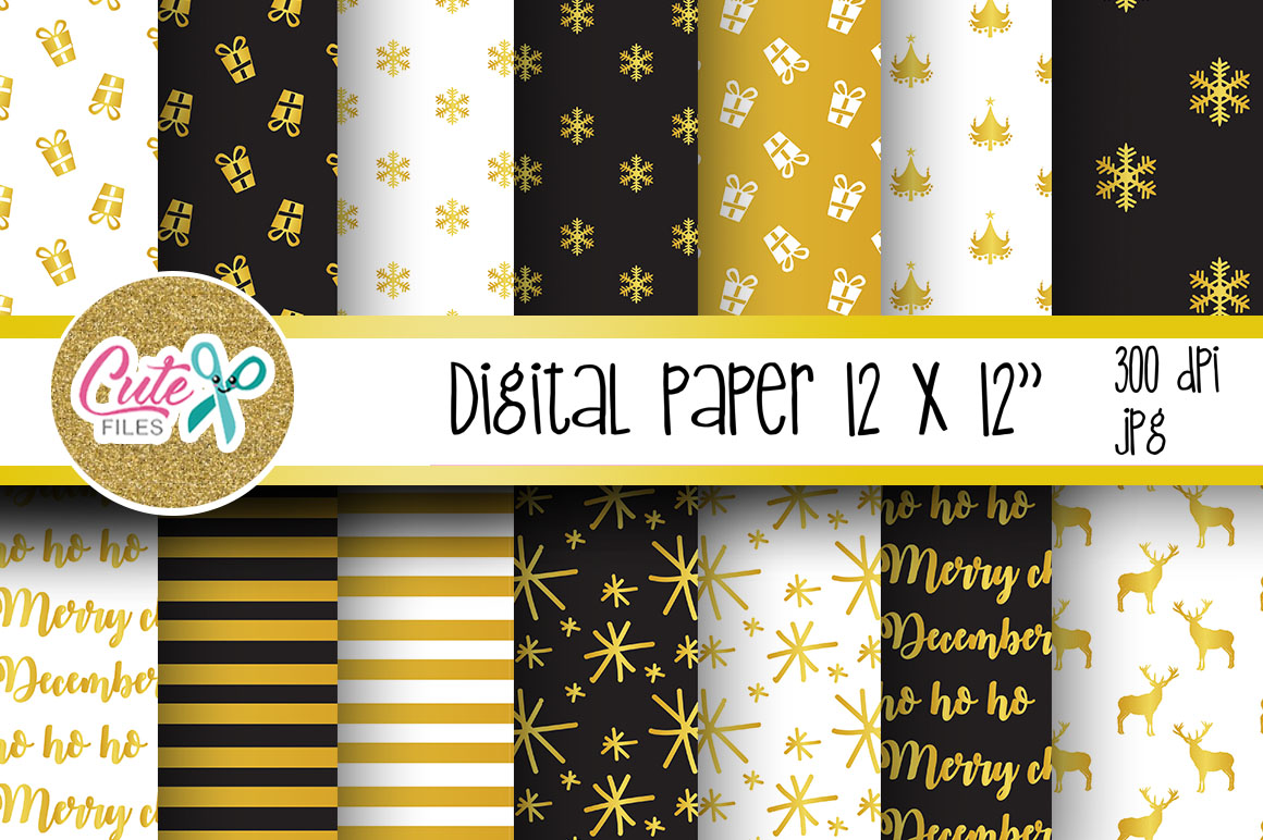 Download Free Christmas Gold And Black Digital Paper Graphic By Cute Files for Cricut Explore, Silhouette and other cutting machines.