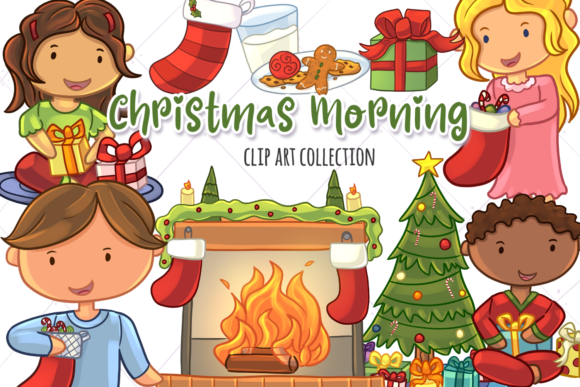 Download Free Christmas Morning Clip Art Collection Graphic By for Cricut Explore, Silhouette and other cutting machines.