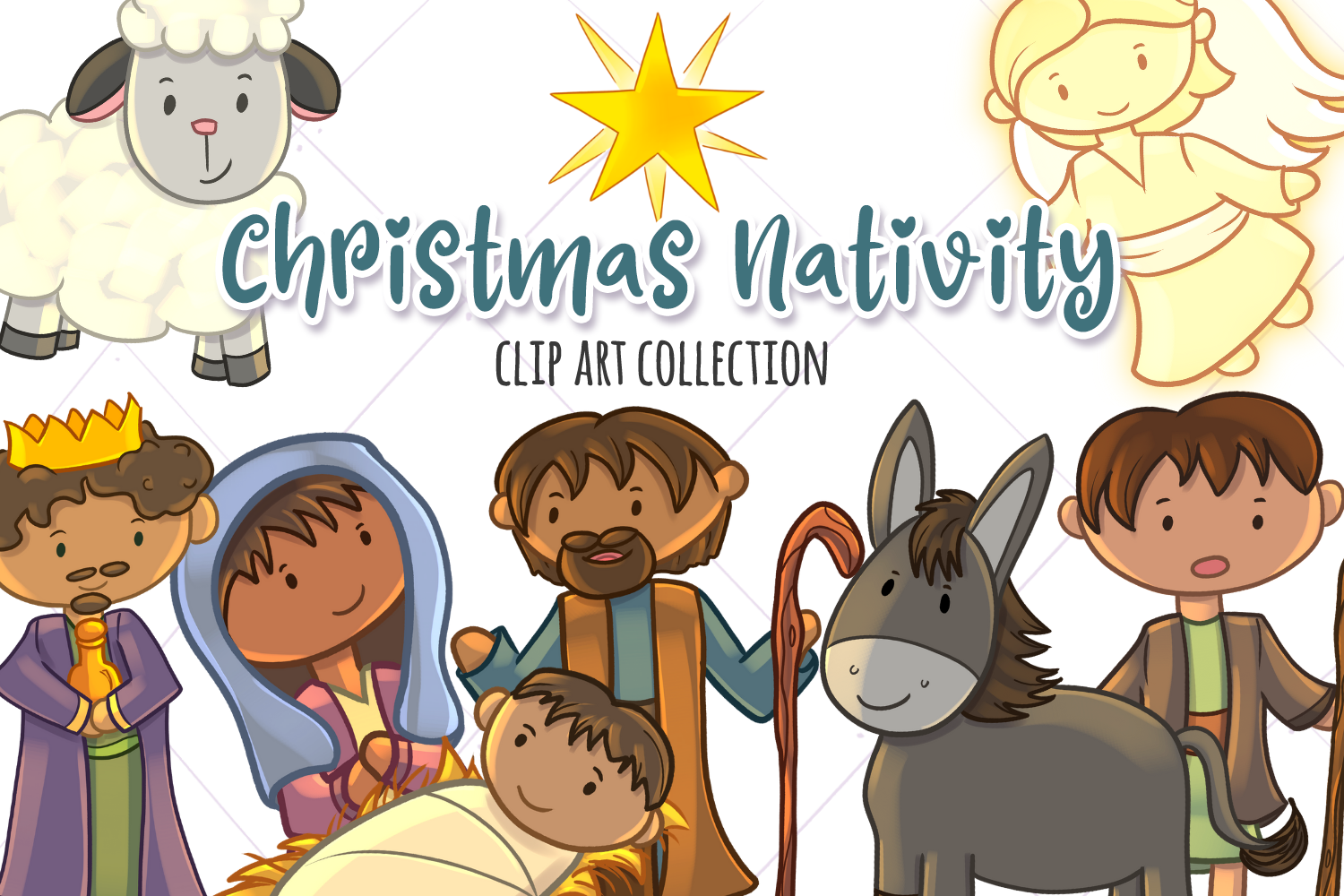 Download Free Christmas Nativity Clip Art Collection Graphic By for Cricut Explore, Silhouette and other cutting machines.