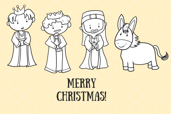Download Free Christmas Nativity Digital Stamps Graphic By for Cricut Explore, Silhouette and other cutting machines.