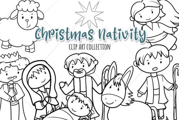 Print on Demand: Christmas Nativity Digital Stamps Graphic Illustrations By Keepinitkawaiidesign