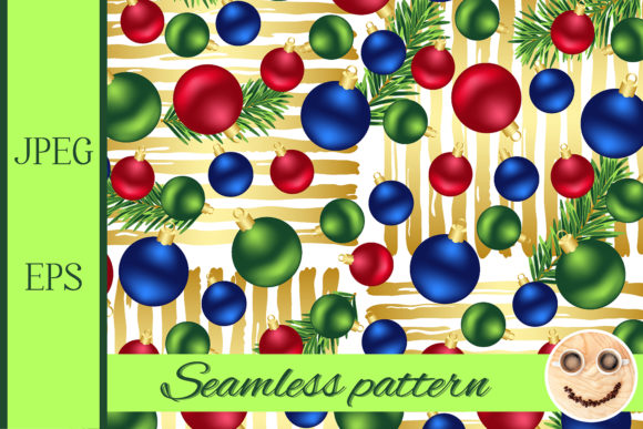 Print on Demand: Christmas Ornaments Golden Pattern Graphic Patterns By TasiPas