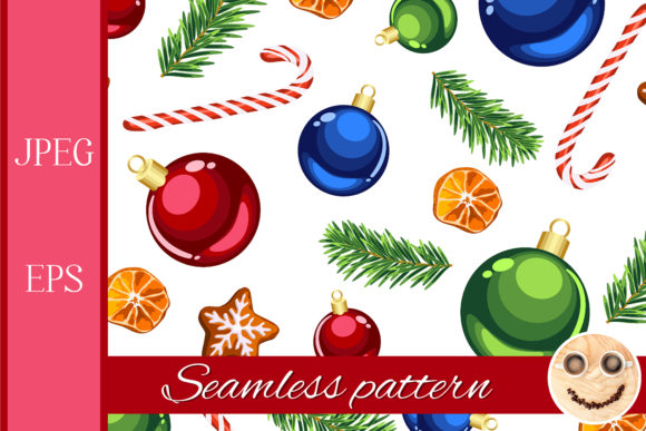 Download Free Christmas Ornaments Pattern Graphic By Tasipas Creative Fabrica for Cricut Explore, Silhouette and other cutting machines.
