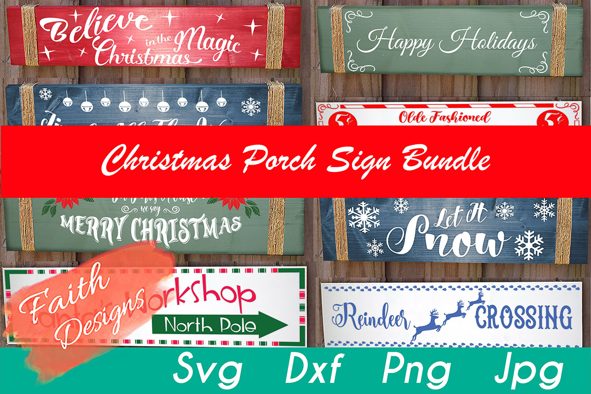 Download Free Christmas Porch Sign Bundle Graphic By Faith Designs Creative for Cricut Explore, Silhouette and other cutting machines.