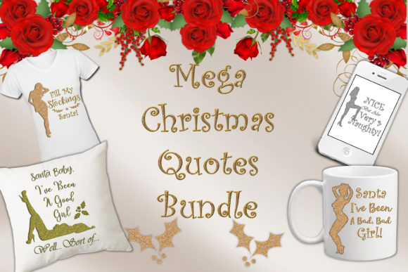 Print on Demand: Christmas Quotes Clipart Graphic Crafts By The Paper Princess - Image 1