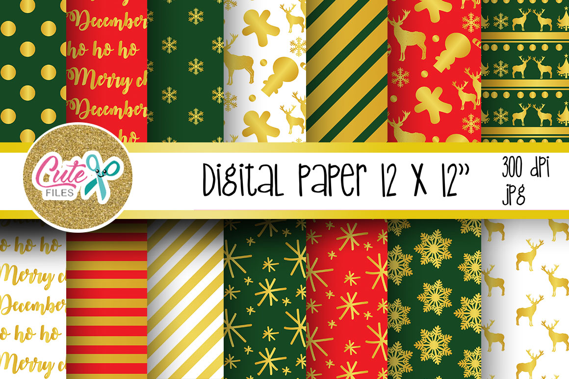 Download Free Christmas Red And Green Digital Paper Graphic By Cute Files for Cricut Explore, Silhouette and other cutting machines.