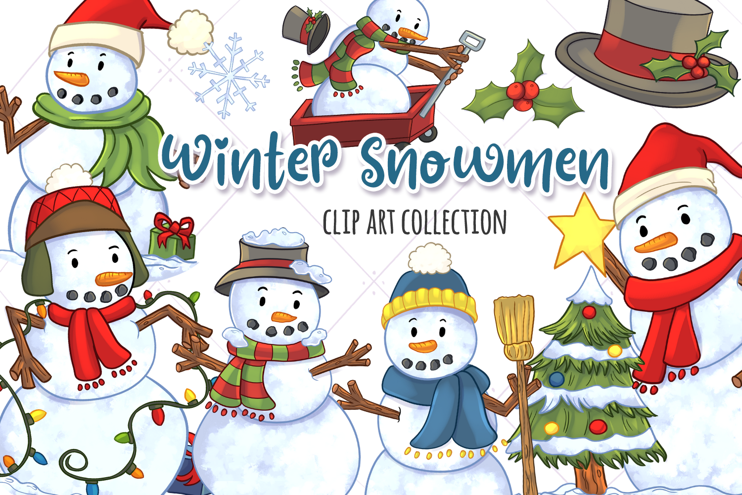 Download Free Christmas Snowmen Clip Art Collection Graphic By for Cricut Explore, Silhouette and other cutting machines.