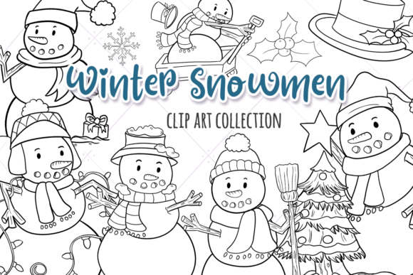 Print on Demand: Christmas Snowmen Digital Stamps Graphic Illustrations By Keepinitkawaiidesign