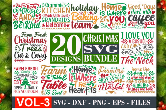 Christmas Svg Bundle Vol-03 Graphic Print Templates By Graphicsqueen