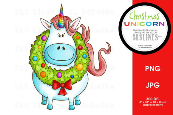 Print on Demand: Christmas Unicorn with Rainbow Wreath Graphic Illustrations By SLS Lines