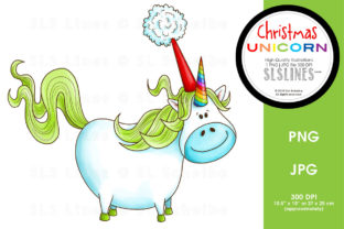 Christmas Unicorn with Santa Hat Graphic By SLS Lines