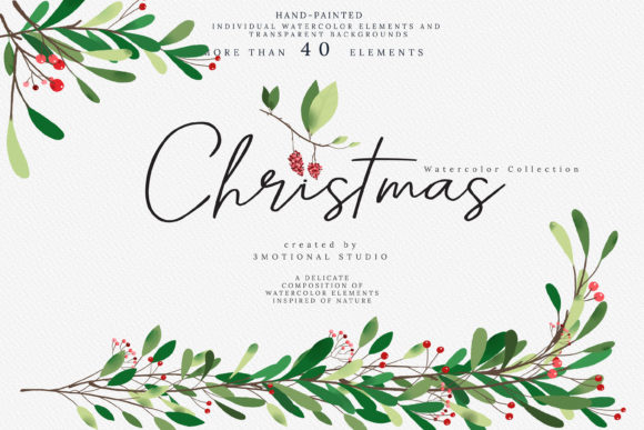 Download Free Christmas Watercolor Collection Graphic By 3motional Creative for Cricut Explore, Silhouette and other cutting machines.