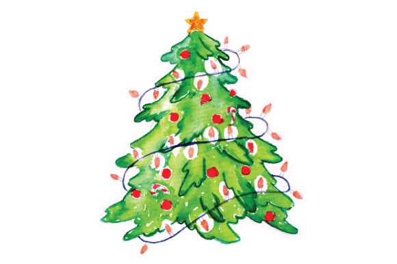 Christmas Tree With Decoations In Watercolor SVG Cut File
