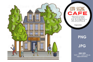 City Street Scenes Cafe Graphic By SLS Lines
