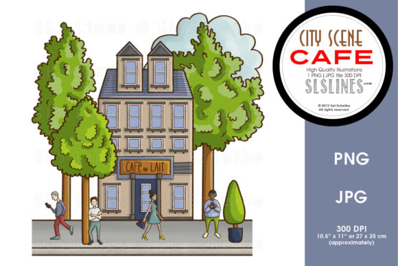 Print on Demand: City Street Scenes Cafe Graphic Illustrations By SLS Lines