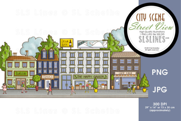 Print on Demand: City Street Scenes Street View Graphic Illustrations By SLS Lines