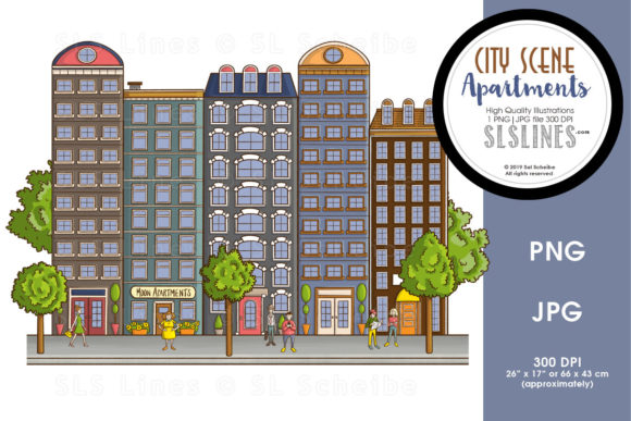 Download Free City Street Scenes Tall Apartments Graphic By Sls Lines for Cricut Explore, Silhouette and other cutting machines.