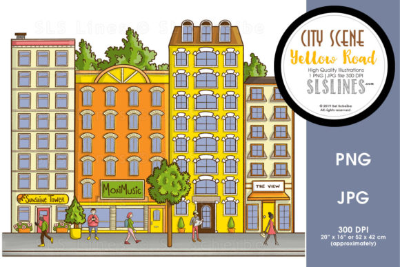 Print on Demand: City Street Scenes Yellow Road Graphic Illustrations By SLS Lines