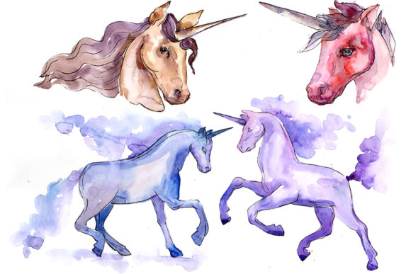 Print on Demand: Classic Unicorn Image Watercolor Graphic Illustrations By MyStocks