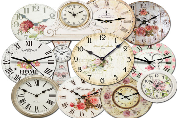 Print on Demand: Clock Faces - Digital Watch Face Graphic Illustrations By retrowalldecor