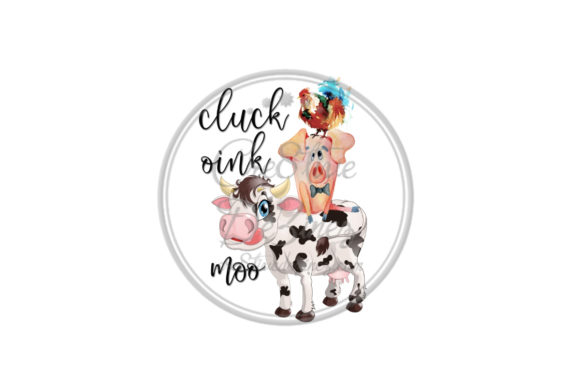 Print on Demand: Cluck, Oink, Moo Kitchen Pun Graphic Food & Drinks By Cre8tiveDeZinez